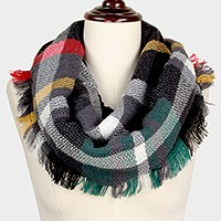Woven plaid check infinity scarf