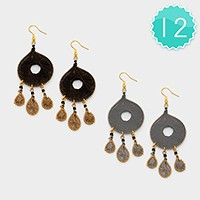 12 Pairs - thread hoop chandelier earrings