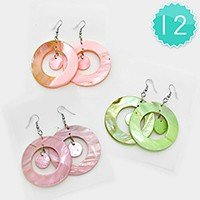 12 Pairs - shell hoop earrings