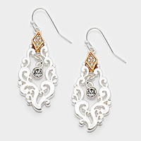 Crystal embellished metal filigree earrings