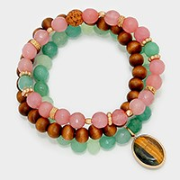 3 PCS - Beaded stack stretch bracelet with natural stone charm