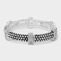 Crystal detail embossed metal stretch bracelet