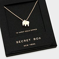 14 K gold dipped elephant pendant necklace with secret box