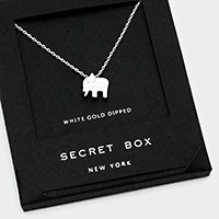 White gold dipped elephant pendant necklace with secret box