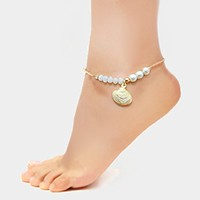 Metal shell charm beaded anklet