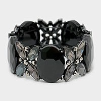 Oval crystal rhinestone evening bracelet