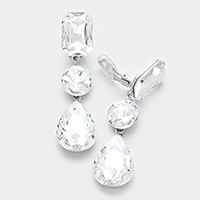 Triple glass crystal clip on earrings