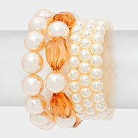 5 PCS - pearl strand stretch bracelet