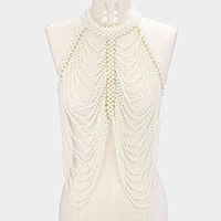 Draped pearl strand long bib body chain necklace