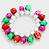 Christmas ornament multi-charm beaded stretch bracelet