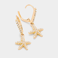 Crystal Rhinestone Pave Starfish Lever Back Earrings