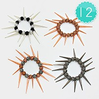 12 PCS - shamballa ball & spike stretch bracelets