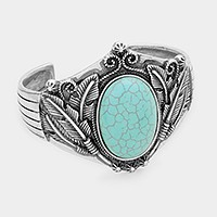 Tribal howlite turquoise feather cuff bracelet