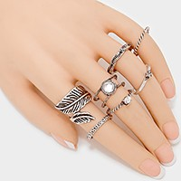 7 PCS - metal leaf coil ring & mixed rings