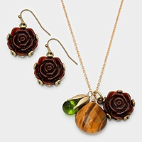Semi precious stone & rose charm necklace