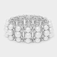 3-Row pearl crystal stretch bracelet