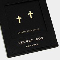 14 K gold dipped cross stud earrings with secret box