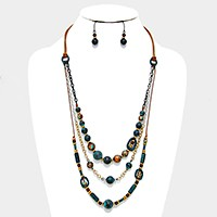 Triple layer antique metal bead strand bib necklace