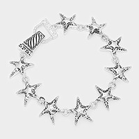 Metal starfish link magnetic bracelet