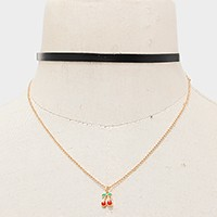 Cherry pendant double layer faux leather choker necklace