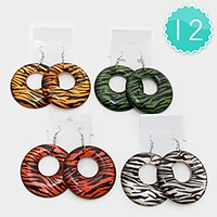 12 Pairs - zebra pattern hoop earrings