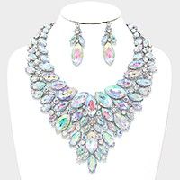 Glass crystal marquise bib evening necklace