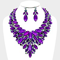 Marquise crystal bib evening necklace