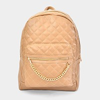 Faux leather quilted Cushion Inspired Chain Backpack