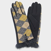 Fleece lined diamond check Touch gloves