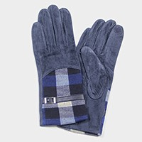 Fleece lined buckle detail check patch smart gloves