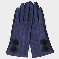 Fleece lined pom pom detail smart gloves