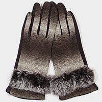 Fleece lined angora fur trim ombre smart gloves