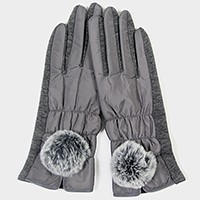 Fleece lined angora pom pom smart gloves