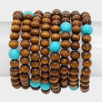 8 PCS - wooden bead strand stack stretch bracelets