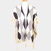 Diamond Pattern Tassel Poncho