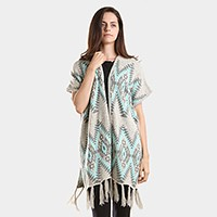 Aztec chevron pattern tassel edge shawl sweater