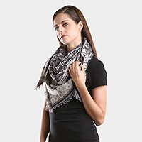 Tribal multi-pattern scarf frayed edge square scarf