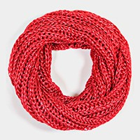 SHIMMER THREAD KNITTED INFINITY SCARF