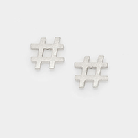 Matte textured metal hashtag stud earrings