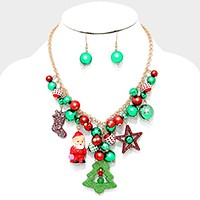 Christmas tree & ornament multi-charm necklace