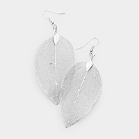 Natural Dipped Filigree Leaf Dangle Earrings