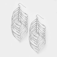 Wavy marquise hoop cluster metal earrings