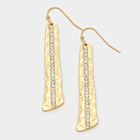 Crystal detail hammered metal bar earrings