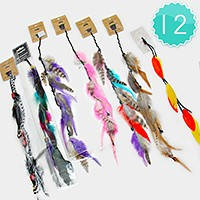 12 PCS - natural feather clip in synthetic hair extensions