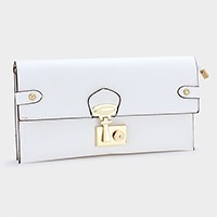 Metal buckle push lock clutch bag with strap