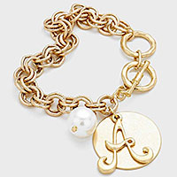 'A' MONOGRAM DISC CHARM LINKED CHAIN BRACELET
