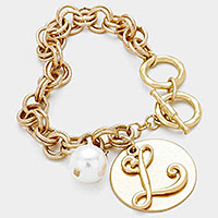 'L' MONOGRAM DISC CHARM LINKED CHAIN BRACELET