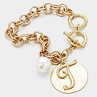 'T' MONOGRAM DISC CHARM LINKED CHAIN BRACELET