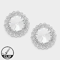 Round crystal rhinestone clip on earrings