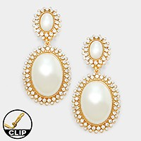 Crystal rhinestone trim pearl clip on earrings